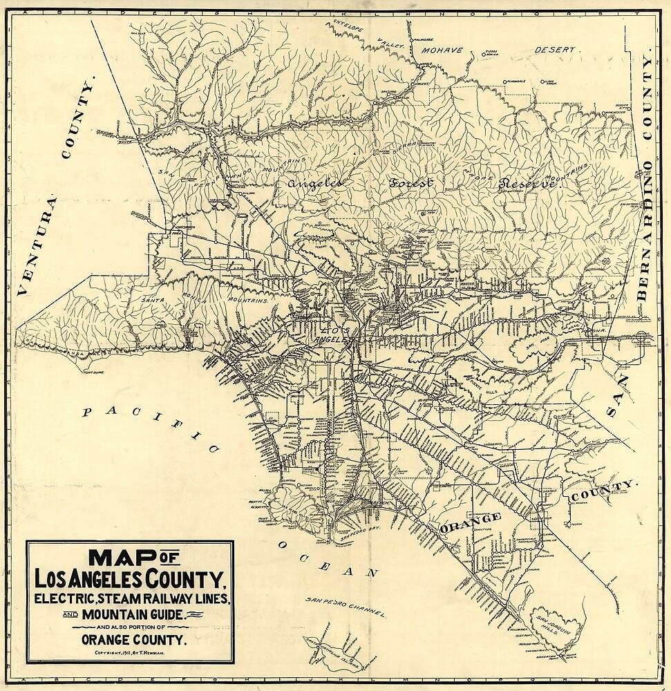 «Mapa ferroviario del condado de Los Ángeles de la vendimia (1912)» de BravuraMedia