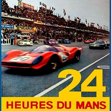 LE MANS; Vintage 1968 Grand Prix Auto Race Print by posterbobs