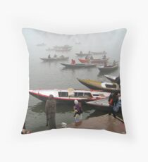 Dawn on the Ganges Throw Pillow