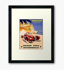 Lámina enmarcada MÓNACO; Vintage 1937 Grand Prix Auto Racing Print