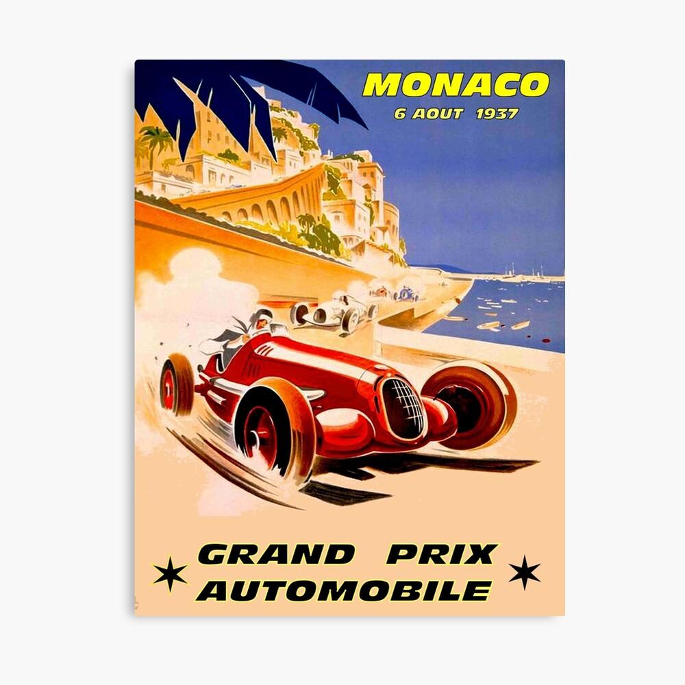 MÓNACO; Vintage 1937 Grand Prix Auto Racing Print Lienzo