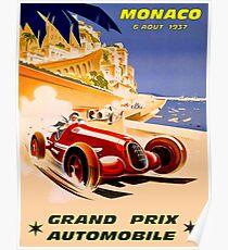MONACO; Grand-Prix-Auto-Rennsport-Druck der Weinlese 1937 Poster