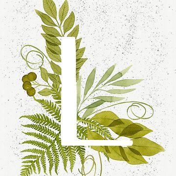 Monograma de la letra L con helecho verde acuarela y hojas de helga-wigandt