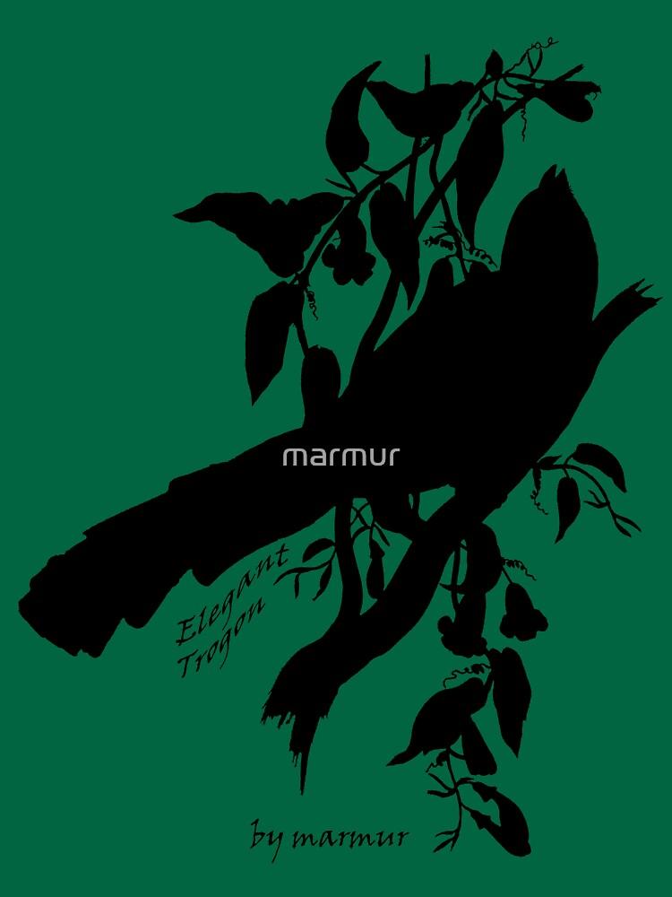 Black Elegant Trogon silhouette by marmur