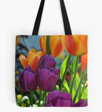 Orange and Purple Tulips Tote Bag