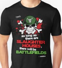 VeganChic ~ Slaughterhouses & Battlefields Slim Fit T-Shirt