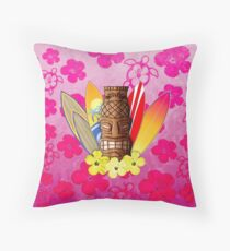 Pink Tiki and Surfboards Throw Pillow