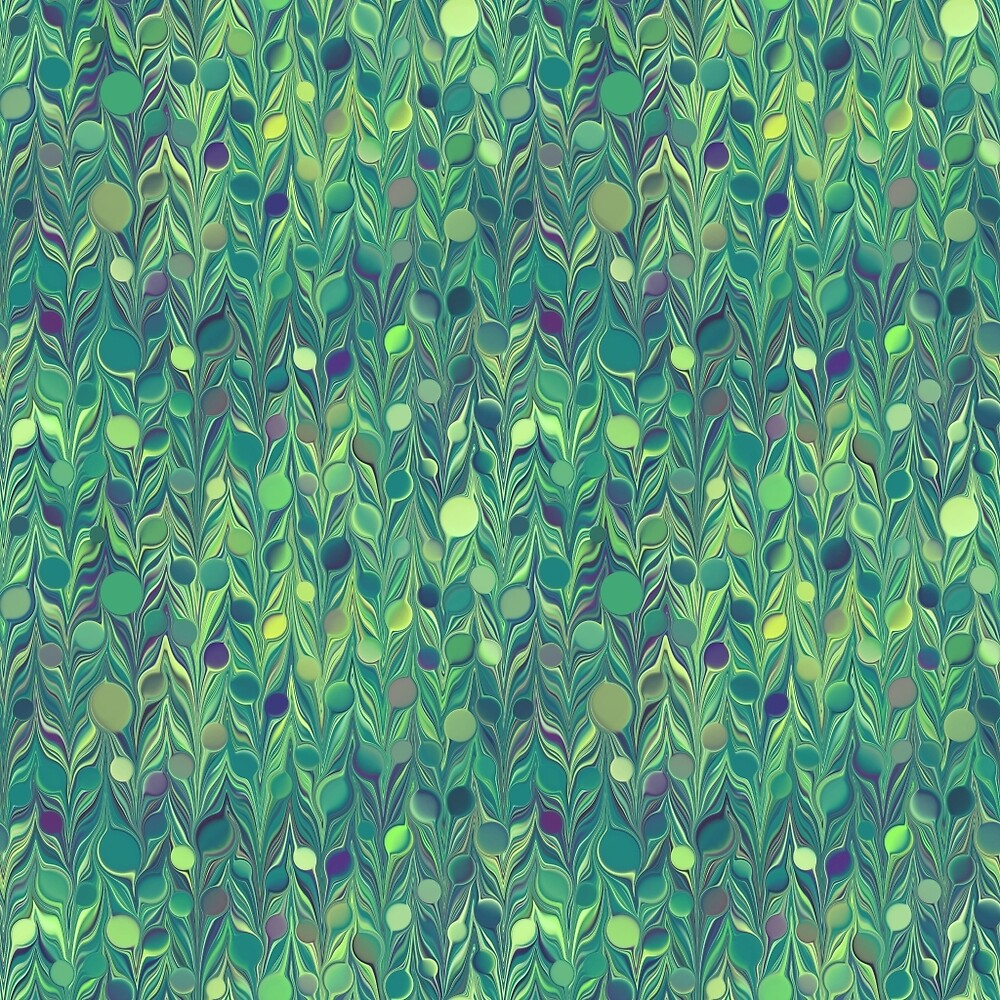 Green Dots Feathers by Sunflow