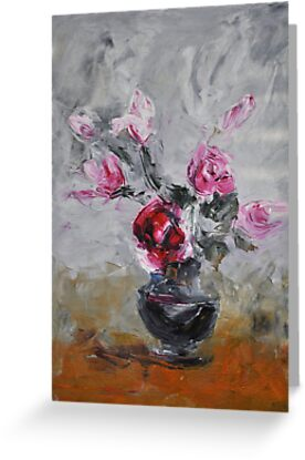 Roses in black vase by Stella  Shube As