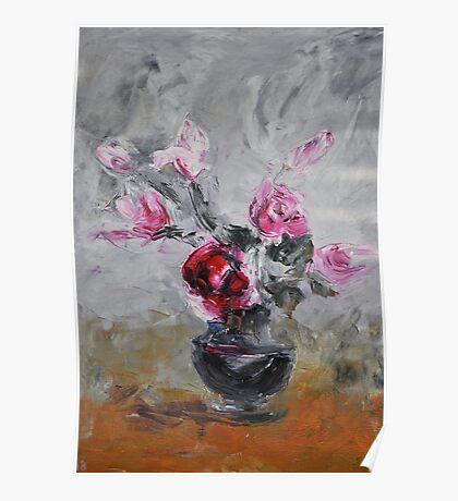 Roses in black vase Poster