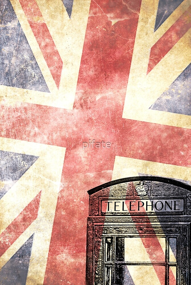British telephone box with Union Jack flag by pifate