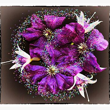 Happy Mothers Day with Purple Clematis and Fuschia, with Swirls by SandraCockayne
