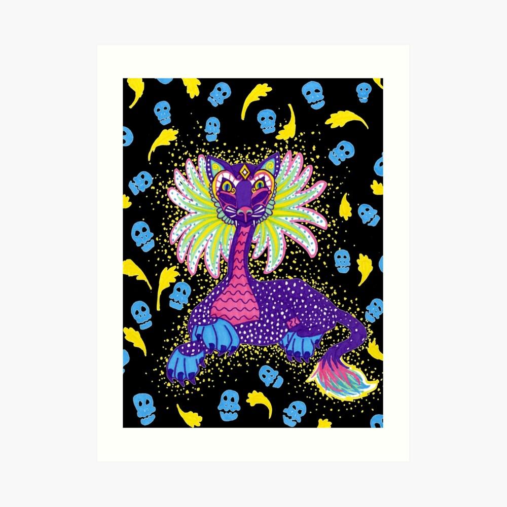 Mexican Alebrije Dia De Los Muertos Day of the Dead Big Cat Spirit Animal Art Print