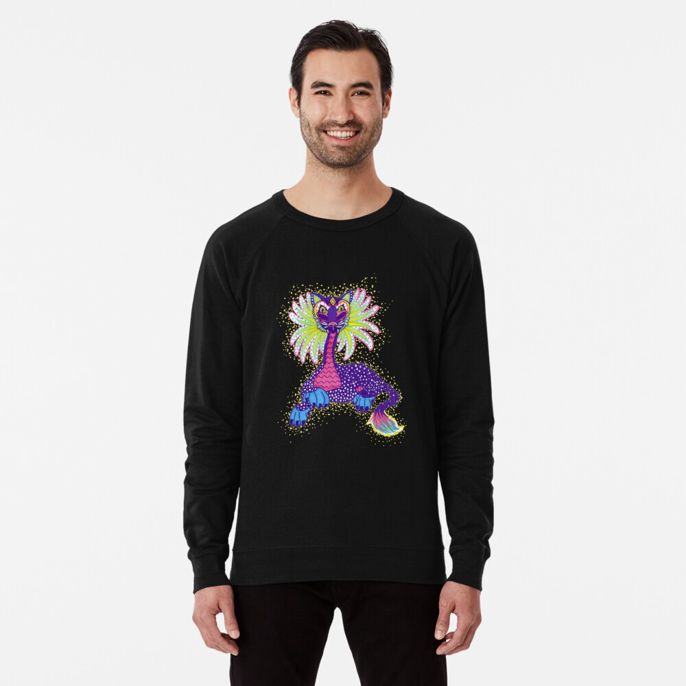 Mexican Alebrije Dia De Los Muertos Day of the Dead Big Cat Spirit Animal Lightweight Sweatshirt
