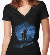 Camiseta entallada de cuello en V Canción de las tormentas