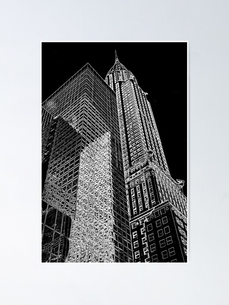 """""""Chrysler Building Outline"""" Poster by miketv 
