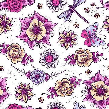 Fantasy Floral Dragonfly Butterfly Pattern by GypseaDesigns