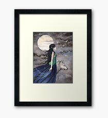 """Night of the Wolf"" Gothic Fantasy Art by Molly Harrison Framed Print"