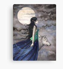 """Night of the Wolf"" Gothic Fantasy Art by Molly Harrison Canvas Print"