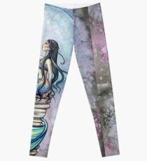 Magic Mermaid Watercolor Fantasy Art Illustration Leggings