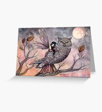 Friendship Fairy and Owl Fantasy Art Illustration by Molly Harrison Greeting Card