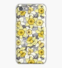 Daffodil Daze - yellow & grey daffodil illustration pattern iPhone Case/Skin