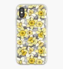 Daffodil Daze - yellow & grey daffodil illustration pattern iPhone Case