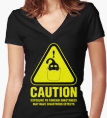 Suu Hazard Sign (English version, for dark backgrounds) Women's Fitted V-Neck T-Shirt