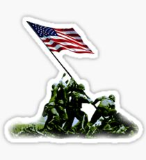 American War Flag, USA, Raising the Colours, Iwo Jima, America, Americana, WW2, WWII Sticker