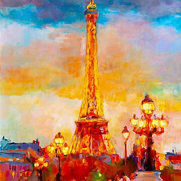 EIFFEL TOWER : At Sunset Surreal Abstract Print by posterbobs