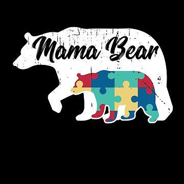 Mama Bear - Autism Awareness Design by dk80
