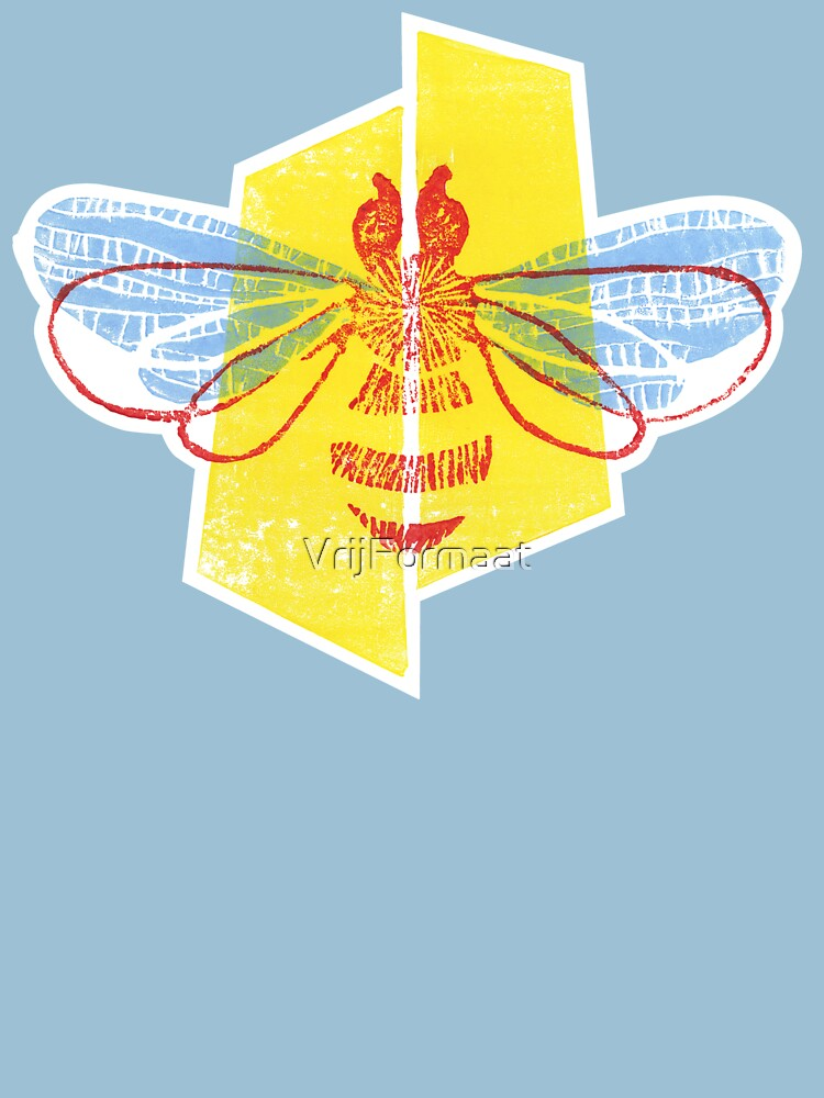 Be safe - Save Bees linocut by VrijFormaat