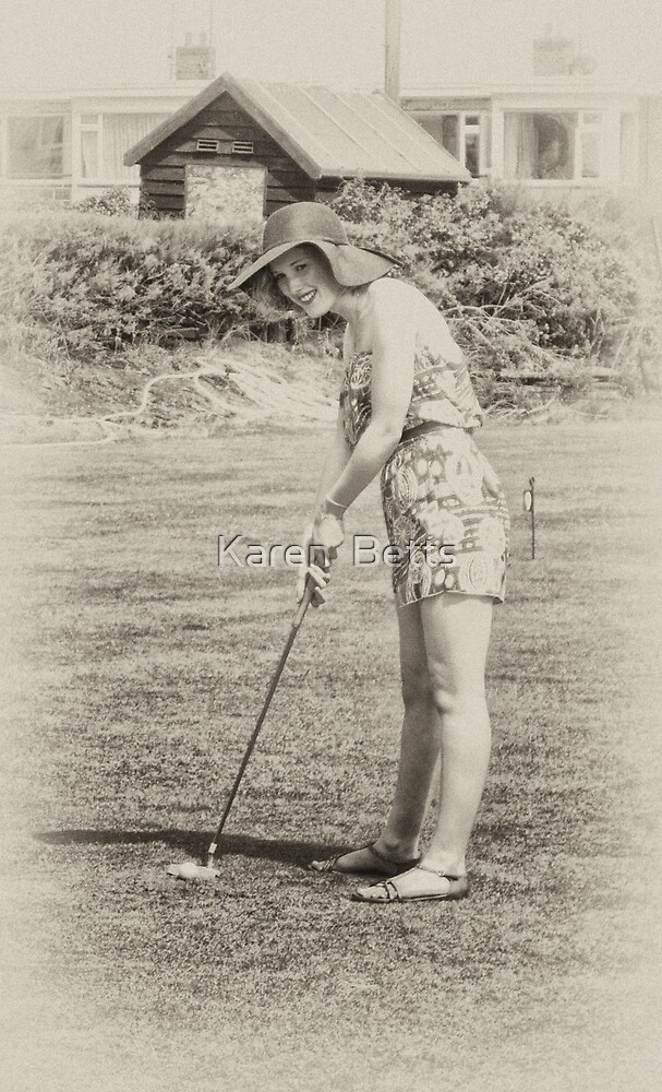 Grace playing golf by Karen  Betts