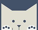 Peek-a-Boo Cat with Paws and Smile, Warm Gray on Navy Blue by Kendra Shedenhelm