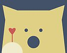 Peek-a-Boo Bear, Navy and Gold with Red Heart by Kendra Shedenhelm
