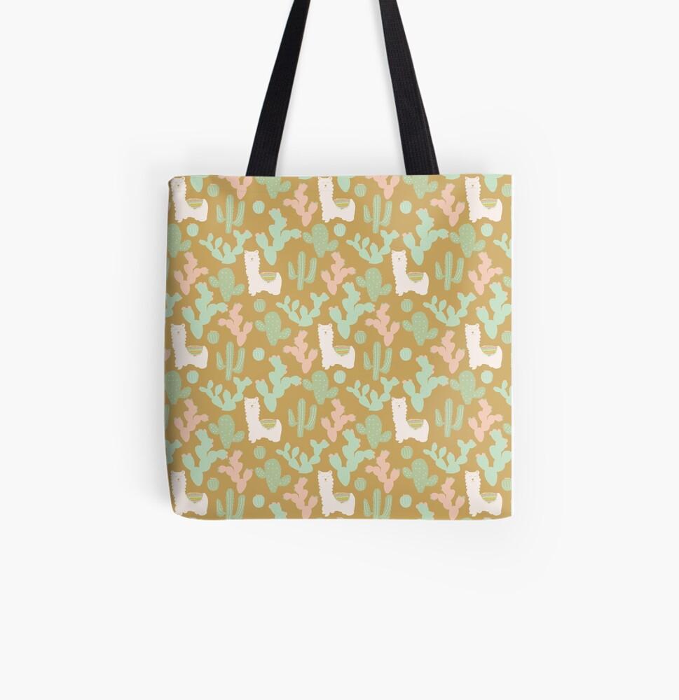 Western Llamas All Over Print Tote Bag