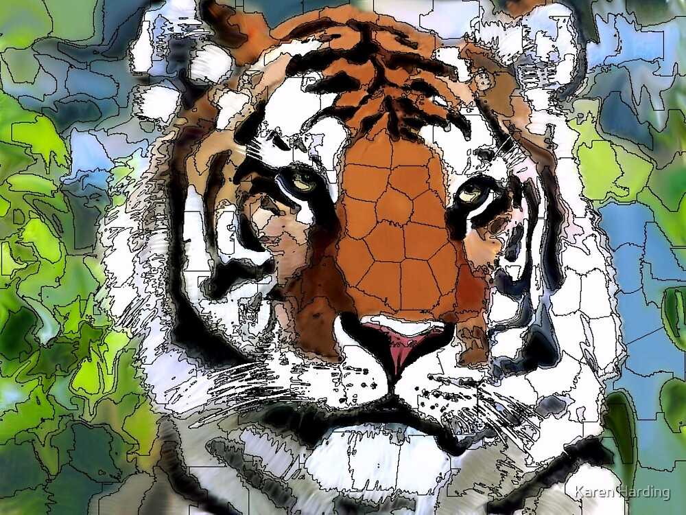 Tiger Head in Colour by Karen Harding