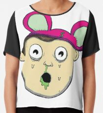 Drooling boy wearing mouse hat Chiffon Top