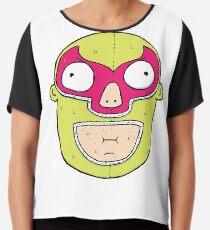 Cartoon Mexican Wrestler Head Chiffon Top