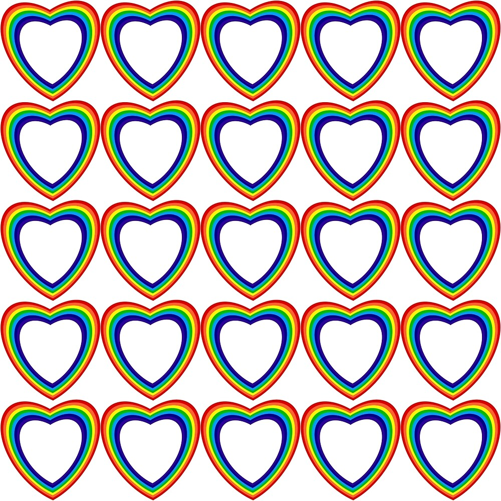 Rainbow Hearts White Background by Terrell-ESS