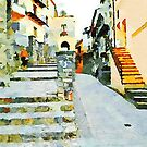 Woman on the stairs in the historic center by Giuseppe Cocco