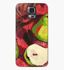 Large Green Pears on Red Case/Skin for Samsung Galaxy