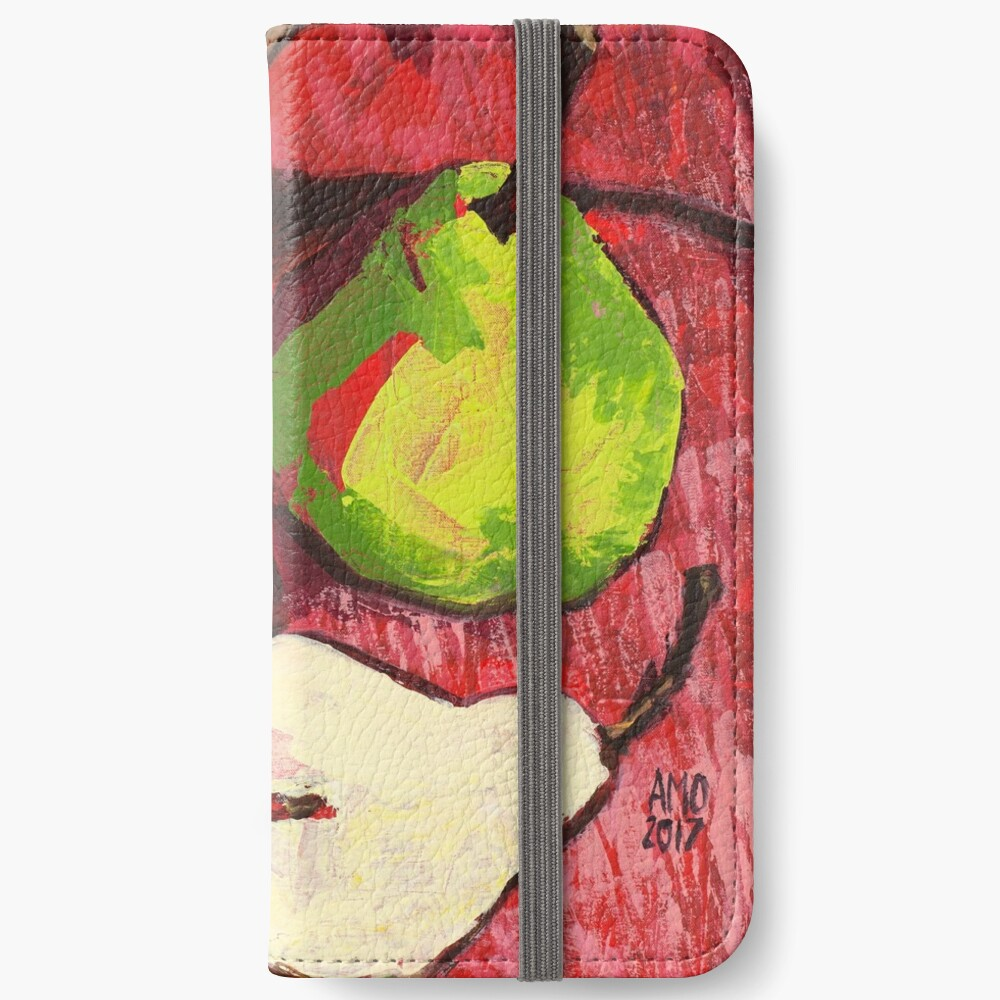 Large Green Pears on Red iPhone Wallet