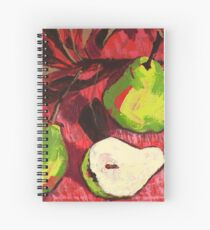 Large Green Pears on Red Spiral Notebook