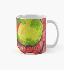 Large Green Pears on Red Classic Mug