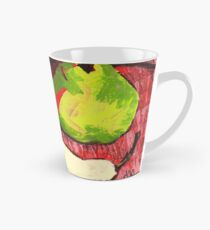 Large Green Pears on Red Tall Mug