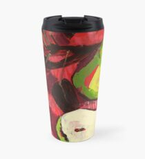 Large Green Pears on Red Travel Mug