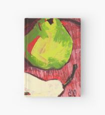 Large Green Pears on Red Hardcover Journal