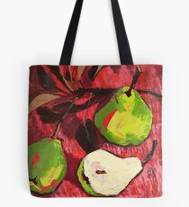 Large Green Pears on Red Tote Bag