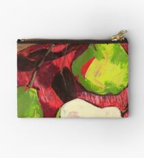 Large Green Pears on Red Studio Pouch